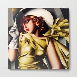 Girl in a Yellow Dress Art Deco Haute Couture portriat painting Tamara de Lempicka Metal Print