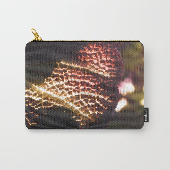 Illuminated Fiery Macro Plant Leaf - Nature Photography Carry-All Pouch