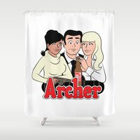 archer Shower Curtains featuring Archer Comics by Jessica Sinclair