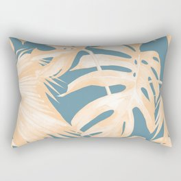 Island Vacation Hibiscus Palm Light Orange Teal Blue Rectangular Pillow