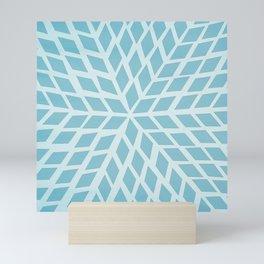 Light blue, diamond, mosaic pattern. Moroccan tile. Mini Art Print