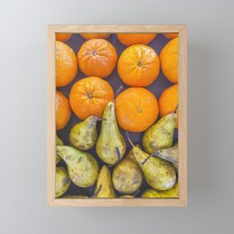 Pattern of oranges and pears Framed Mini Art Print
