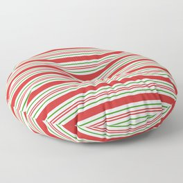 Red Green and White Candy Cane Stripes Thick and Thin Horizontal Lines Festive Christmas Floor Pillow