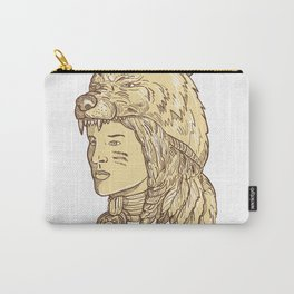 Native American Woman Wearing Wolf Headdress Carry-All Pouch
