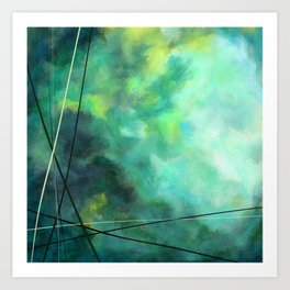 Crossed Green - Abstract Art Art Print