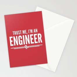 Trust Me Engineer (Red) Funny Quote Stationery Cards