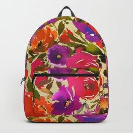 Elegant neon pink lavender orange watercolor floral Backpack