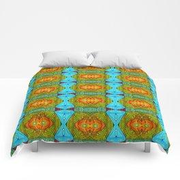 abstract, pattern, jacks, fun, orange, yellow, red, green, aqua, bunny clarke Comforters