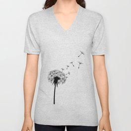 Black and White Dandelion Blowing in the Wind Unisex V-Neck