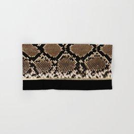 Modern black brown gold snake skin animal print Hand & Bath Towel