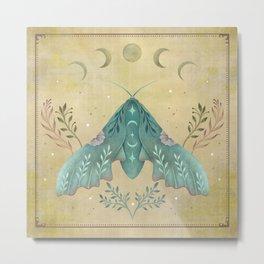 Luna and Moth - Oriental Vintage Metal Print