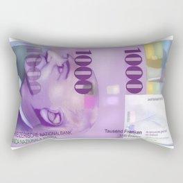 1000 Swiss Francs note bill- Front side Rectangular Pillow
