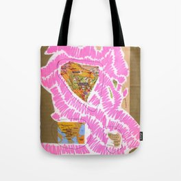 scan of pink highlighter and black ballpoint pen on digital print  Tote Bag