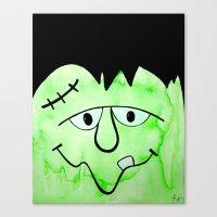 frankenstein Canvas Prints featuring Frankenstein by HollyJonesEcu