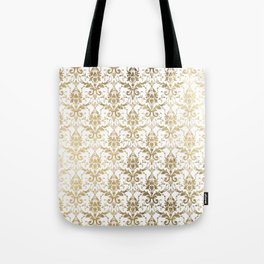 Elegant vintage white faux gold floral boutique damask Tote Bag