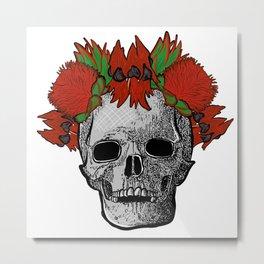 Gorgeous Australian Native Flower Crown on Skull Metal Print