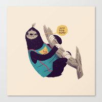 sloth Canvas Prints featuring sloth by Louis Roskosch