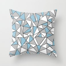 Abstraction Lines Sky Blue Throw Pillow