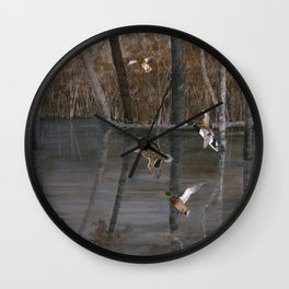 Winter Mallards Wall Clock