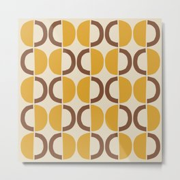 Mid Century Modern Half Circle Pattern 526 Beige Yellow and Brown Metal Print