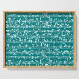 Hand Written Sheet Music // Teal Serving Tray