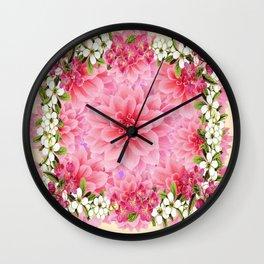 PINK DAHLIA FLOWER GARDEN  YELLOW FLORAL Wall Clock