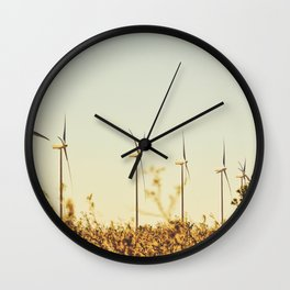 desert with wind turbine in summer Wall Clock