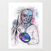 Portraying and playing with the brush Art Print