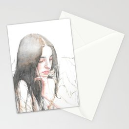 Woman Watercolor Portrait Stationery Cards