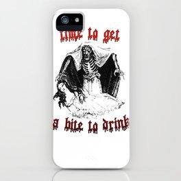 Vintage Vampire Skeleton Halloween Illustration  iPhone Case