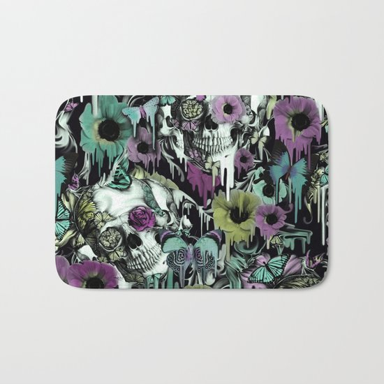 Mrs. Sandman, melting rose skull pattern Bath Mat