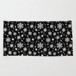 Festive Black and White Snowflake Pattern Beach Towel