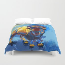 On the Plains - Bison painting Duvet Cover