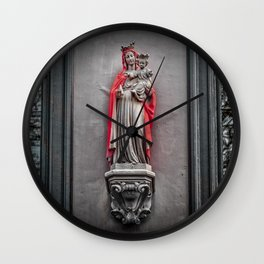 Our Lady Of The Red Cape Wall Clock