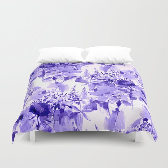 floral Delft blue Duvet Cover