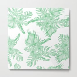 Island Tropical Green White Jungle Metal Print