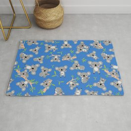 Koala Cute Kids Blue Koalas Animal Pattern Rug