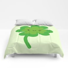 Kawaii Lucky Four Leaf Clover Comforters