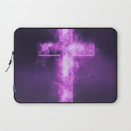 Christian cross symbol. Abstract night sky background. Laptop Sleeve