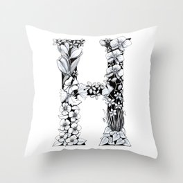 Floral Pen and Ink Letter H Throw Pillow