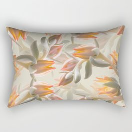 Orange Succulent Flowers Pastel Green Background #decor #society6 #buyart Rectangular Pillow
