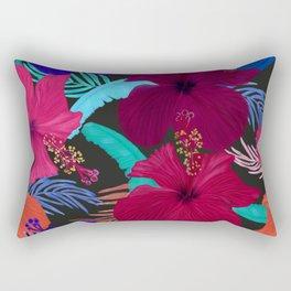 Hand drawn hibiscus, banana, palm leaves tropical pattern black background Rectangular Pillow