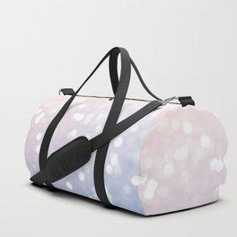 Rose quartz and serenity sparkly bokeh Duffle Bag
