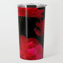 Red roses on black background Travel Mug