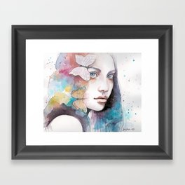 Lady with a butterfly Framed Art Print