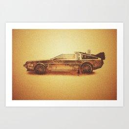 Lost in the Wild Wild West! (Golden Delorean Doubleexposure Art) Art Print