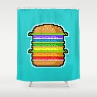 hamburger Shower Curtains featuring Pixel Hamburger by Sombras Blancas Art & Design