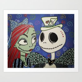 Hatter Jack and Alice Sally Art Print