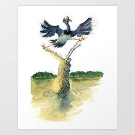 crocodile and bird Art Print