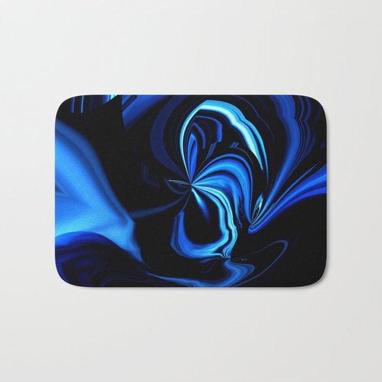 Blue Butterfly Abstract Bath Mat